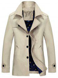 Lapel Epaulet Trench Coat - KHAKI