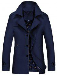 Lapel Epaulet Trench Coat - PURPLISH BLUE