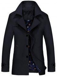 Lapel Epaulet Trench Coat - BLACK