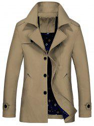 Lapel Epaulet Trench Coat - EARTHY