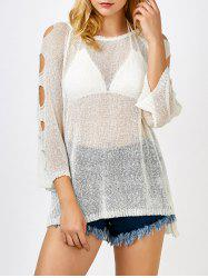 Cold Shoulder Tunic Sheer Swimsuit Cover Up - OFF-WHITE