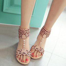 Hollow Out T Strap Flat Sandals