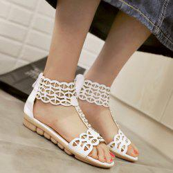 Hollow Out T Strap Flat Sandals - WHITE
