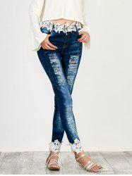 Distressed Floral Lace Panel Jeans