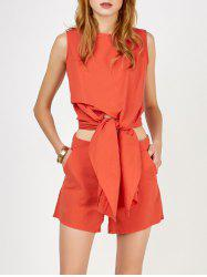Knotted Asymmetrical Top and Shorts Twinset - DARKSALMON
