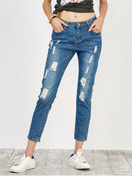 High Rise Distressed Jeans - BLUE