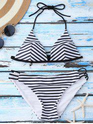 Pinstriped String Straps Bikini Suits