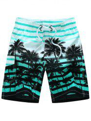 Coconut Tree Print Striped Board Shorts - BLUE
