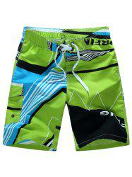 Color Block Graphic Board Shorts - GREEN