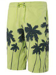 Tie Front Coconut Tree Print Shorts - YELLOW