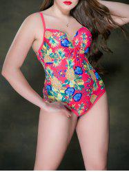 Floral Print Backless Swimsuit -