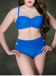 High Waisted Plus Size Bandage Bandeau Bikini Set
