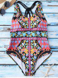 Criss Cross Ethnic Print One Piece Swimwear