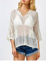 Lace Insert Sheer Drop Shoulder Swimsuit Cover Up