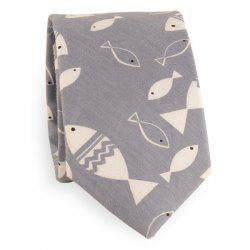 Handpainted Fish Cotton Blend Tie