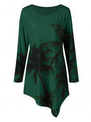 Long Sleeve Plus Size Palm Print Asymmetrical T-Shirt -