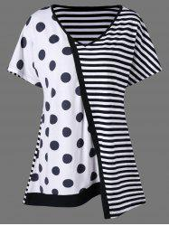 Plus Size Striped with Polka Dot T-Shirt