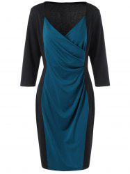 Plus Size Mid Length Pencil Surplice Dress - BLUE AND BLACK 2XL