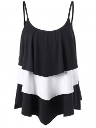Layered Two Tone Tank Top - WHITE/BLACK 2XL