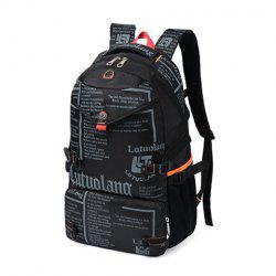 Letter Print Nylon Backpack - BLACK