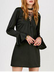 Lace Up Mini Flare Long Sleeve Dress