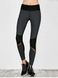 Colorblock Mesh Panel Leggings - SMOKY GRAY