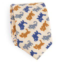 Full Little Cat Cotton Blend Tie - BEIGE