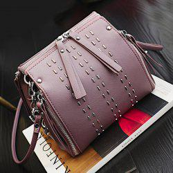 Multi Zippers Rivet Cross Body Bag