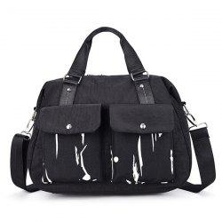 Nylon Splashed Ink Paint Handbag - BLACK