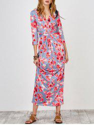 Knot Front Floral Print Maxi Dress