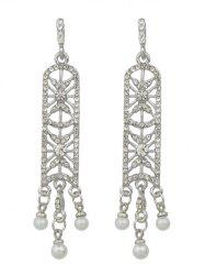 Artificial Pearl Rhinestone Chandelier Earrings