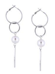 Faux Pearl Circle Bar Earrings