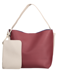 Color Block Shoulder Bag and Pouch Bag