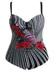 Cut Out Floral One-Piece Swimwear