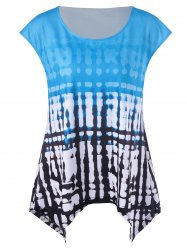 Scoop Neck Printed Plus Size Sleeveless T-Shirt