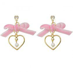 Velvet Bowknot Artificial Pearl Heart Drop Earrings