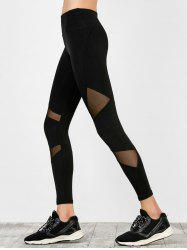 High Waist Mesh Panel Running Leggings - BLACK