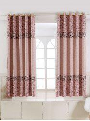 Floral Embroidery Fabric Grommet Top Blackout Curtain - ROSE PÂLE
