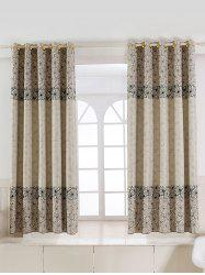 Floral Embroidery Fabric Grommet Top Blackout Curtain