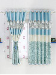 Color Block Design Window Shade Blackout Curtain
