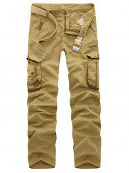 Zipper Fly Multi Pockets Slimming Cargo Pants - KHAKI