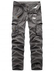 Zipper Fly Multi Pockets Slimming Cargo Pants -