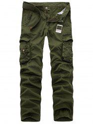Zipper Fly Multi Pockets Slimming Cargo Pants