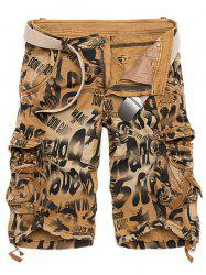 Graphic Print Tie Dye Applique Cargo Shorts - YELLOW