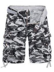 Zipper Fly Camouflage Stud Embellished Cargo Shorts - WHITE GREY