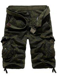 Zipper Fly Camouflage Stud embellies Cargo Shorts