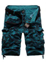 Zipper Fly Camouflage Stud Embellished Cargo Shorts - BLUE 36