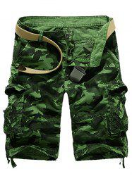Zipper Fly Camouflage Stud Embellished Cargo Shorts