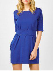Belted Round Collar Fitted Mini Dress