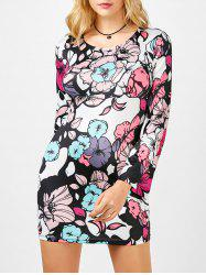 Floral Print Cut Out Bell Sleeve Dress